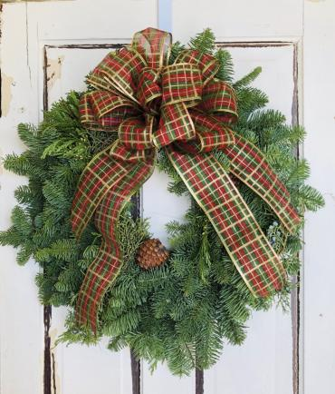 Live Evergreen Door Wreath