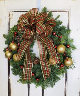 Live Evergreen Door Wreath Dressed up